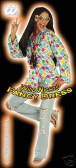 FANCY DRESS COSTUME = DELUXE 70's HIPPY SHIRT WHITE M/L